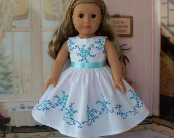 "Exquisite Flower Girl Dress with Elaborate Embroidery / Doll Clothes  for American Girl Maryellen, Melody, Tenney,  or other 18"" Doll"