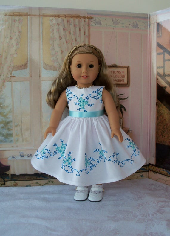 "SUPER SATURDAY SALE! Exquisite  Dress with Elaborate Embroidery /Doll Clothes for American Girl Maryellen, Melody, or other 18"" Doll"