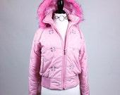 90's Bubblegum Pink Pastel Bubble Jacket with Fur Trim Hood S - M