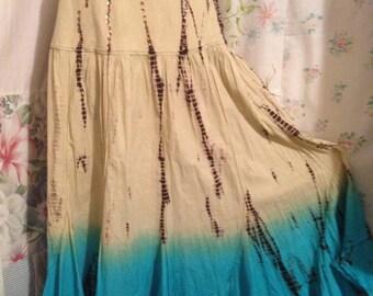 SMALL/MED, Skirt Flowerchild Hippie Boho Cotton Tie Dye Bohemian Turquoise Beige Skirt