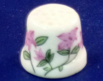 Vintage Ceramic Thimble with Pink Flowers, 1980s