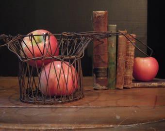 Antique French Wire Egg Basket / Egg Basket / Country Basket / French Wire Salad Basket / French Country / Gathering Basket