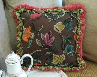 Vintage Fabric Designer Pillow / Chenille and Fringe Pillow / Throw Pillow / Velvet Backed Pillow