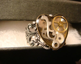 Steampunk Watch Part  Ring in Antique Silver- Made with real watch parts  (2224)
