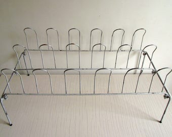 Vintage Metal Shoe Rack , Shoe Organizer , Closet Shoe Storage , Retro Industrial Metal Rack Mud Room Storage Organizer , Shoe Display Prop