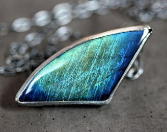 Long Labradorite Gemstone Necklace, Peacock Teal Green Blue Flash Gemstone Oxidized Sterling Silver Necklace - Ready to Ship -  Stormchaser