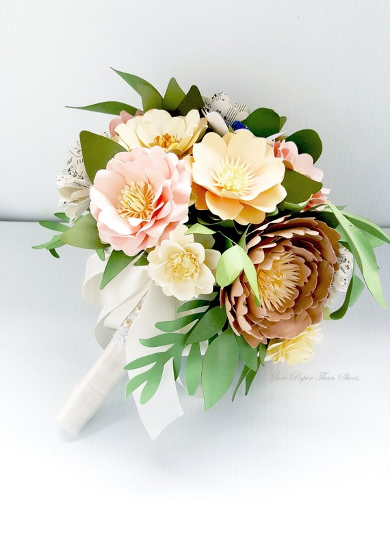 Paper Bouquet - Handmade Paper Flower Bouquet - Wedding Bouquet - Paper Flowers - Shaylee - Customize Your Colors - Made To Order