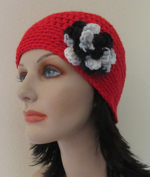 Red Beanie with Attached Black White and Grey Crocheted Flower, Cloche, Fashionable Hat, Cold Weather Hat, Hat for Women, Winter Hat
