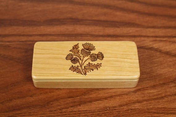 "Thistle Stash Box, 5"" x 2"" x 1"", Pattern ST61, Scotland Thistle, Solid Cherry, Rare Earth Magnets for closing, Paul Szewc, Masterpiece Laser"