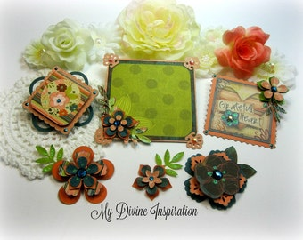 Bo Bunny Olivia Scrapbook Embellishments, Paper Embellishments for Scrapbook Layouts Cards Mini Albums Tags and Papercrafts