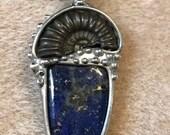 Ammonite and lapis lazuli pendant