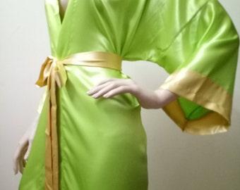 SALE Green Bridesmaid Robes, wedding robe, bridesmaid silk robe, dressing gown, personalized robe, kimono robes, floral robe, bridal robe