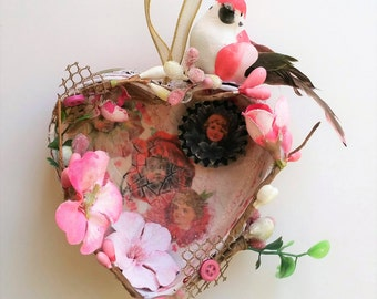 Altered Heart Tin Hanging Ornament with Flowers and Bird, Girls Room Decor Wall Art - Heart Decoration