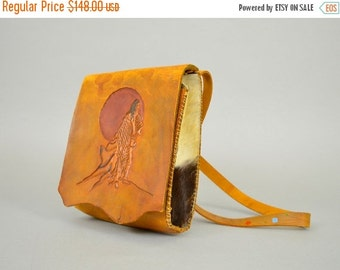 ANNIVERSARY SALE Hand Tooled Leather NATIVE American Bag