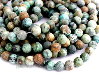 "African Turquoise Gemstone Beads, Frosted 8mm Natural Gemstone, Full 14.9"" Strand, 48 pcs"