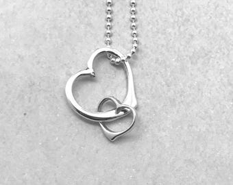 Double Heart Necklace, Sterling Silver, 2 Hearts Necklace, Gifts for Her, Handmade Jewelry, Everyday Necklace