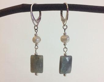 Labradorite and Freshwater Pearl Earrings
