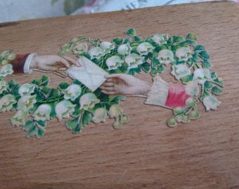 Sweet antique French tirelire money box with decoupage top c1890  Attic find BELLE BROCANTE