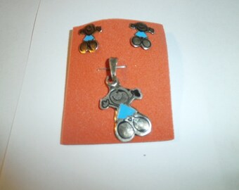Vintage Pend/Ear Set, 925 Sterling, Inlaid Turquoise Figure with matching earrings