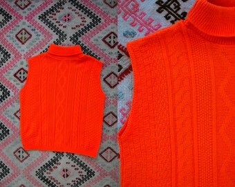 Vintage 60's Blaze Orange Knit Turtleneck Tank Top Women's Medium Large