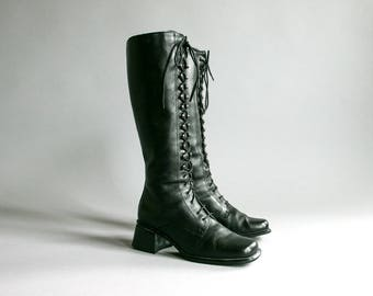 Vintage 90's Tall Black Leather Lace Up Boots Women's Size 8 / 38 EUR / Gothic Grunge Retro