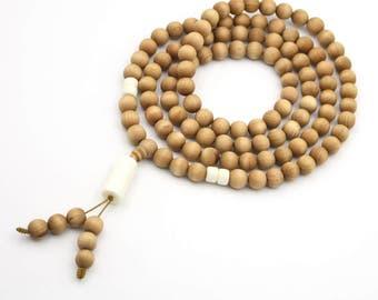 108 8mm x 8mm Wood Tibetan Buddhist Prayer Beads Mala Necklace  YB003