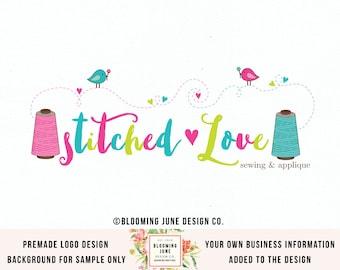 Applique Logo Sewing Logo Design Fabric Shop Logo Seamstress Logo Graphic Design Bespoke Logo Design Thread Spool Logo Design Premade Logo