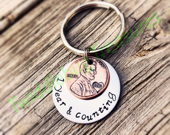 One Year Anniversary - Penny Key Chain -  Hand Stamped