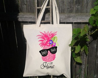 Where My Beaches At Retro Pineapple with Sunglasses -Beach Bachelorette Party Tote - Wedding Welcome Tote Bag