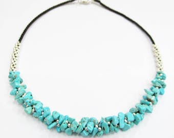 Mala Turquoise Silver Color Bead Necklace