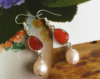 Bridal Red Onyx and Pearl Earrings