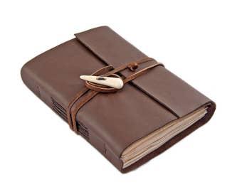Dark Brown Leather Journal - Tea Stained Paper - Antler Closure - Dark Brown Leather Journal - Journal - Travel Journal - Artist Journal