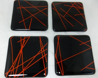 Black Fused Glass Coasters with Red Detailing - set of 4 MTO