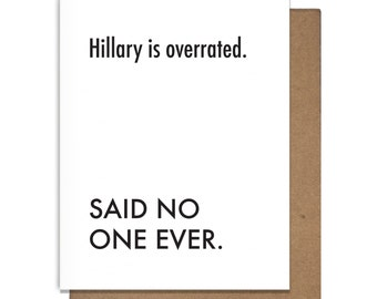 Hillary Clinton Support Letterpress Greeting Card