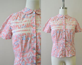 1930s Pink Floral Print Cotton Blouse with Lace