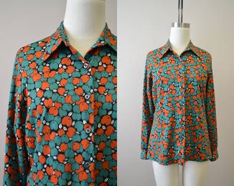 1970s Jantzen Apple Print Shirt