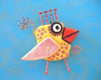 Chicken Little, Bird Wall Art, Original Found Object Wall Sculpture, Wood Carving, Chicken Art, Wall Decor, by Fig Jam Studio