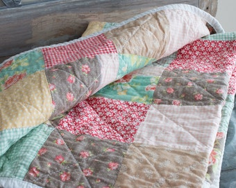 SALE!! Modern baby quilt - one of a kind - floral