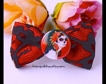 Sugar Skull Hair Bow,  Detachable Button, Day Of The Dead Lace Hair Bow, Gothic, Hipster, Scene, Lolita By: Tranquilityy
