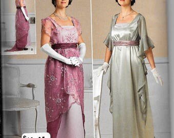 Simplicity 1517 Edwardian Dress Titanic Downton Abby Mystery Night Victorian Historical Costume Andrea Schewe Pattern Size 6, 8, 10, 12