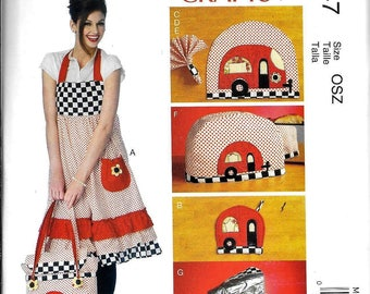 McCall's MP347/M6935 Trailer Kitchen Apron, Potholders, Tote Bag, Toaster Cover Sewing Pattern UNCUT
