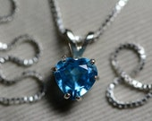Blue Topaz Necklace, 1.40 Carat Blue Topaz Pendant, Sterling Silver, Heart Cut, December Birthstone
