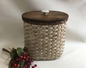 Waste  Basket with Lid / Magazine Basket / Storage Basket / Organizer Basket-Primitive Style- White