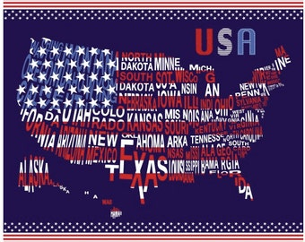 USA map Fabric, Patriotic USA fabric, July decoration fabric, American map fabric 100% cotton for Quilting, arts, crafts and sewing projects
