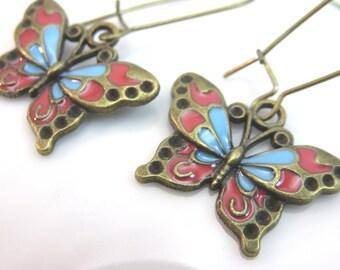 Enamel butterfly earrings - butterfly charm earrings - antiqued brass butterfly earrings - bue red butterfly earrings - animal earrings