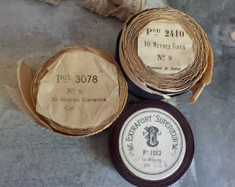3 Old french rolls of gros grain ribbons  Old rolls of ribbons  Nice old labels