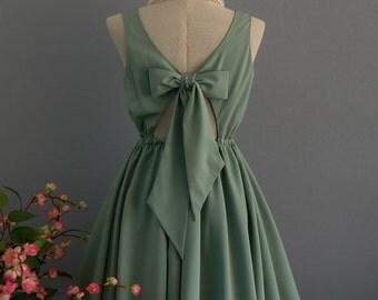 Christmas SALE Lolita Dress Sweet Lolita Backless Dress Sage Green Dress Sage Green Bridesmaid Dress Sage Green Party Dress Summer Dress XS-