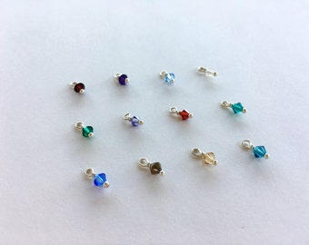 ADD A CRYSTAL: Add a 4mm Swarovski Crystal Birthstone to Your Necklace . 14K Gold Fill & Sterling Silver Available