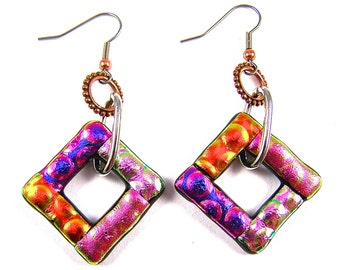 "BIG Dichroic Earrings Dangle One Inch 1"" Square Loop - Pink Purple Orange Magenta Fuchsia Fused Glass - Surgical Steel Wire w/ Copper Bead"