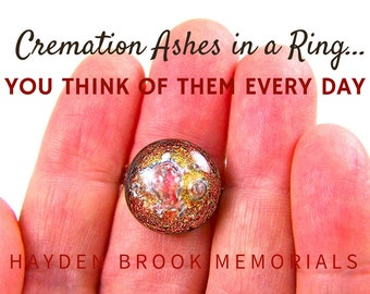 Memorial Ring / Pet Cremation Ashes Jewelry - Dichroic Fused Glass Jewelry- Custom Made - Golden Copper Orange Bronze / Color & Size Options